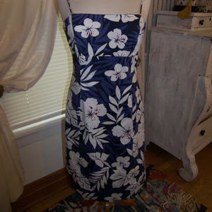 Evan Picone Hibiscus Cut Away Back With Ties Dress